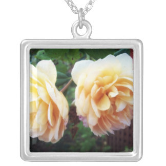 Two Yellow Roses Square Pendant Necklace