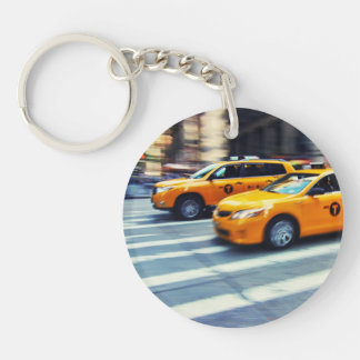 Two Yellow Taxis in NYC Keychain