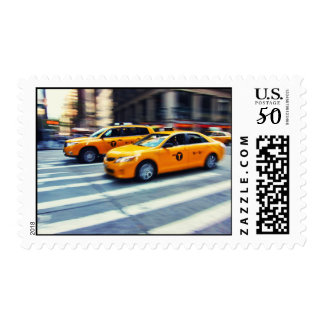 Two Yellow Taxis NYC Postage Stamp