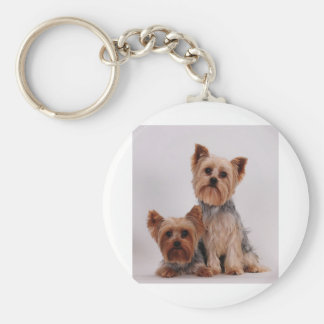 Two Yorkies Basic Round Button Keychain