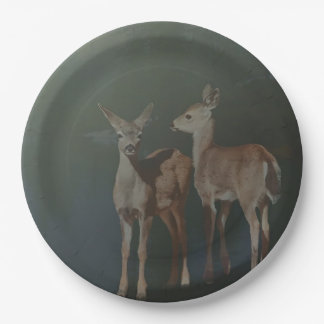 TWO YOUNG DEER 9 INCH PAPER PLATE