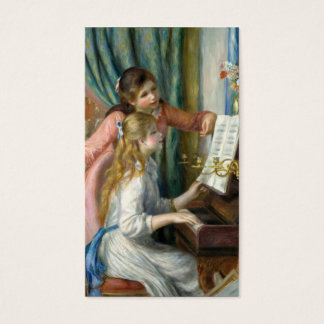 Two Young Girls at the Piano - Pierre-Auguste Reno Business Card