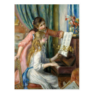 Two Young Girls at the Piano - Pierre-Auguste Reno Postcard
