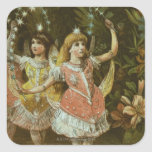 Two young girls perform ballet square stickers