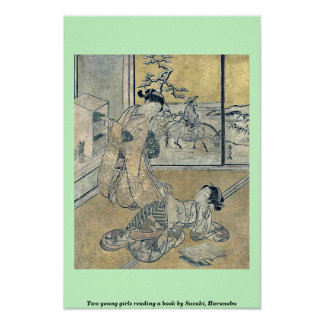 Two young girls reading a book by Suzuki, Harunobu Poster