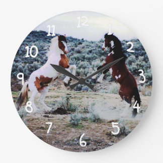 Two Young Horses Playing Large Clock