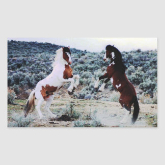 Two Young Horses Playing Rectangular Sticker
