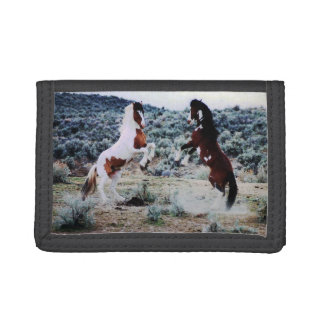 Two Young Horses Playing Tri-fold Wallet