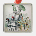 Two young ladies in calico gowns metal ornament