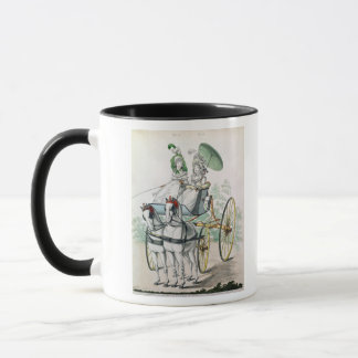 Two young ladies in calico gowns mug
