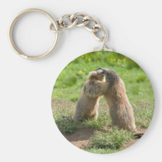 two young marmots basic round button keychain