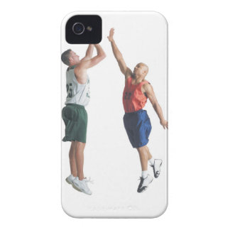 two young men dressed in opposing team iPhone 4 cases