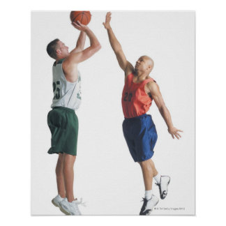two young men dressed in opposing team poster
