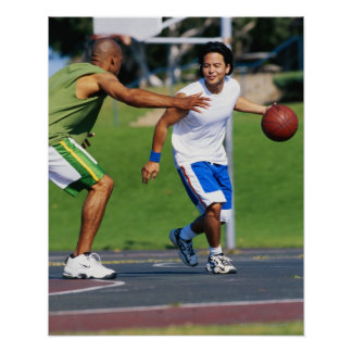 Two young men playing basketball poster