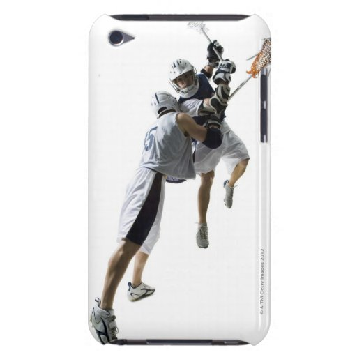 Two young men playing lacrosse 2 barely there iPod cases