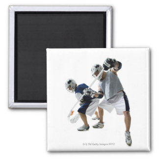 Two young men playing lacrosse 2 inch square magnet