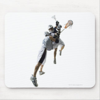 Two young men playing lacrosse 2 mouse pad