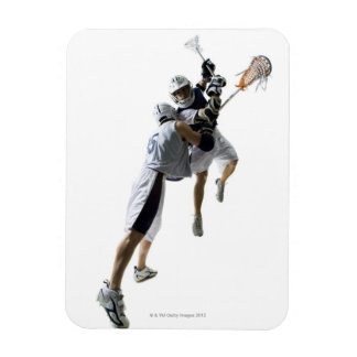 Two young men playing lacrosse 2 rectangular photo magnet