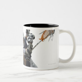 Two young men playing lacrosse 2 Two-Tone coffee mug