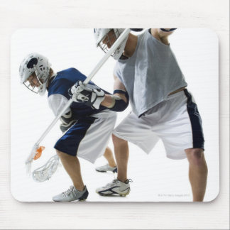 Two young men playing lacrosse mouse pad