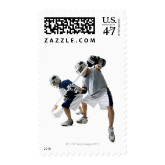 Two young men playing lacrosse postage