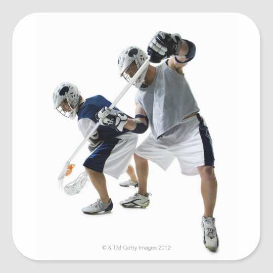 Two young men playing lacrosse square sticker