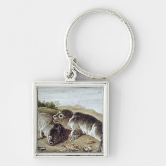 Two Young Seals on the Shore, c.1650 Keychain