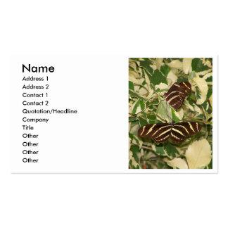 Two zebra butterflies on foliage business card
