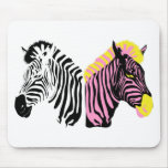 Two zebras - Black and White and Pink Mousemat
