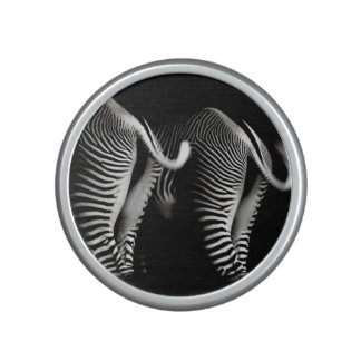 Two Zebras in Close Up View From Behind Bluetooth Speaker