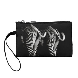 Two Zebras in Close Up View From Behind Change Purse