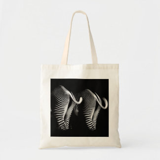 Two Zebras in Close Up View From Behind Tote Bag