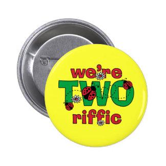TWOriffic Ladybug Twins 2nd Birthday Pinback Button