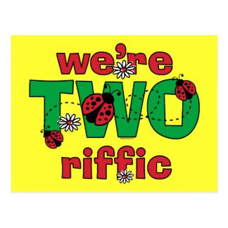 TWOriffic Ladybug Twins 2nd Birthday Postcard