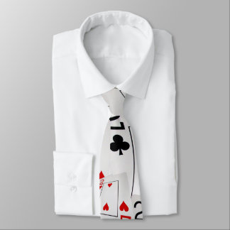 Twos In A Pattern, Poker Cards, Mens Silky Tie
