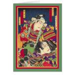 TwoSamurai - impresión de Woodblock del japonés -  Felicitacion