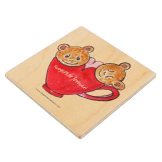 Twosome Teddies wooden coaster Maple Wood Coaster