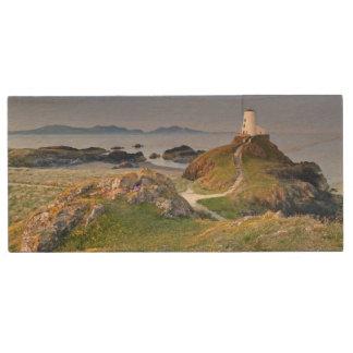 Twr Mawr Lighthouse On Llanddwyn Island Wood Flash Drive