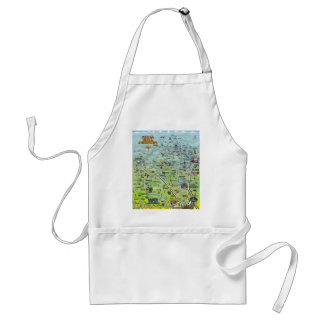 TX Hill Country Cartoon Map Adult Apron