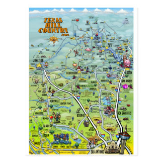TX Hill Country Cartoon Map Postcard