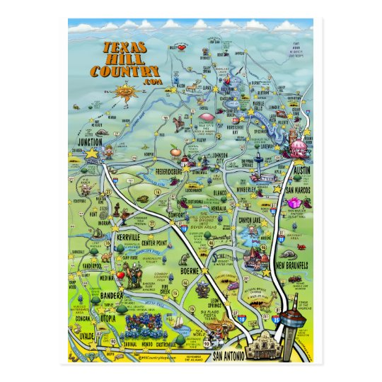 TX Hill Country Cartoon Map Postcard | Zazzle.com