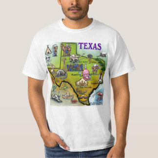 TX Hill Country Cartoon Map T-Shirt