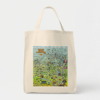 TX Hill Country Cartoon Map Tote Bag