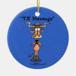 TX Message  Longhorn Christmas Tree Ornament
