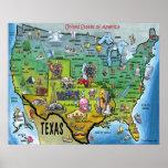 TX USA Map Poster