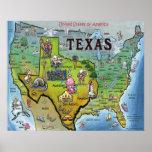 TX USA Map Print