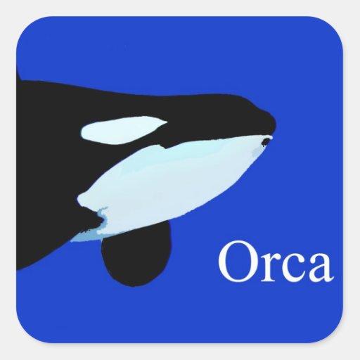 txt gráfico subacuático de la orca de la orca pegatina cuadrada