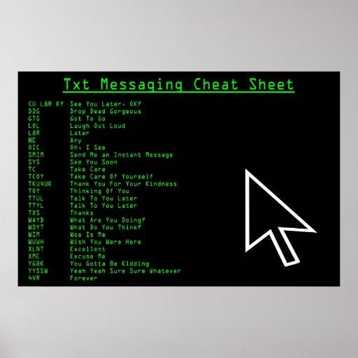 Txt Messaging Cheat Sheet Print
