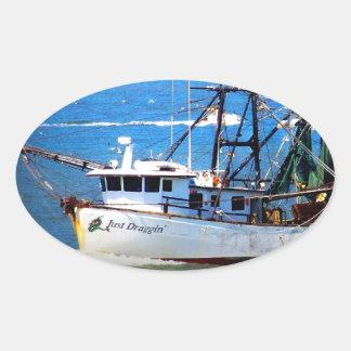 Tybee Boat Oval Sticker