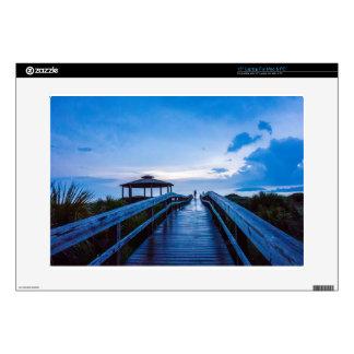 "tybee island beach savannah georgia ocean evening 15"" laptop decal"